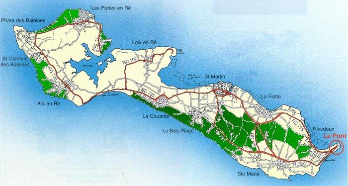 carte détaillée ile de ré Carte de l'Ile de Ré
